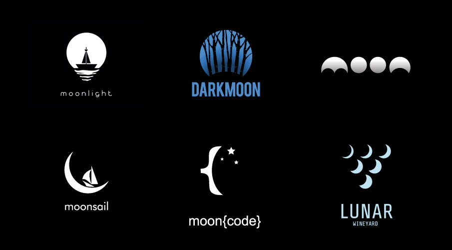 32 logos qui illustrent la lune
